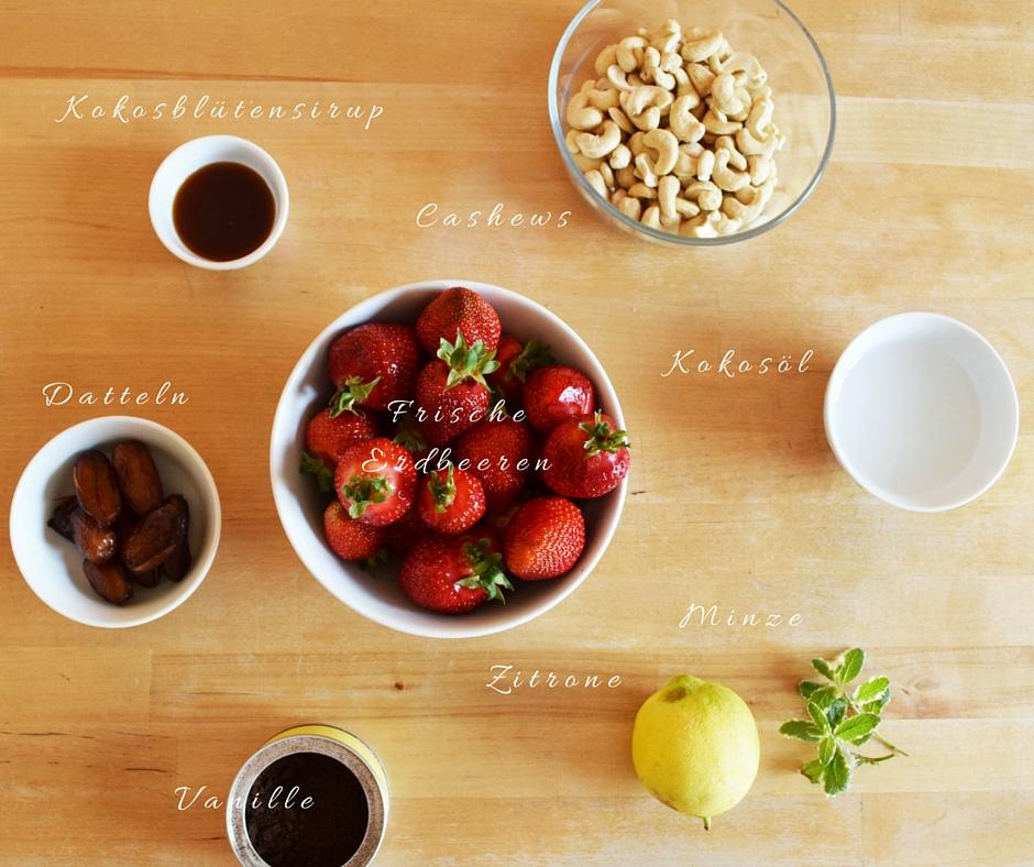 Zutaten Erdbeertorte vegan glutenfrei rawlicious