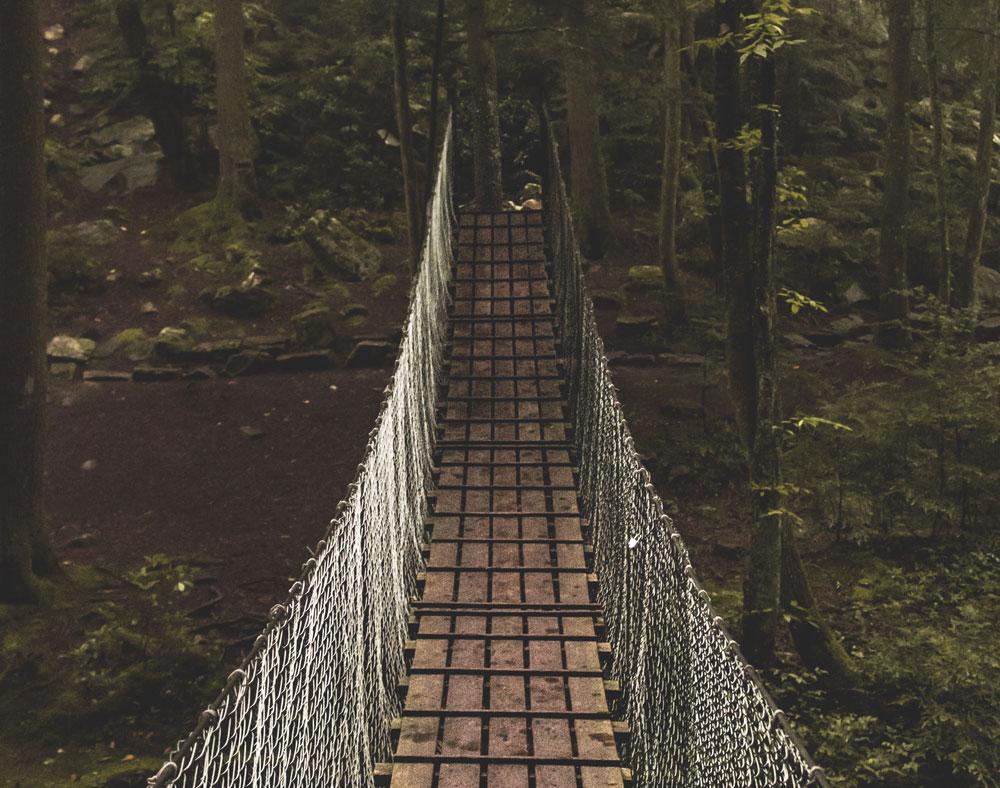 Lieber einen beherzten Schritt ins Unbekannte machen, statt mit bibbernden Knien in der Mitte einer Hängebrücke stehen!